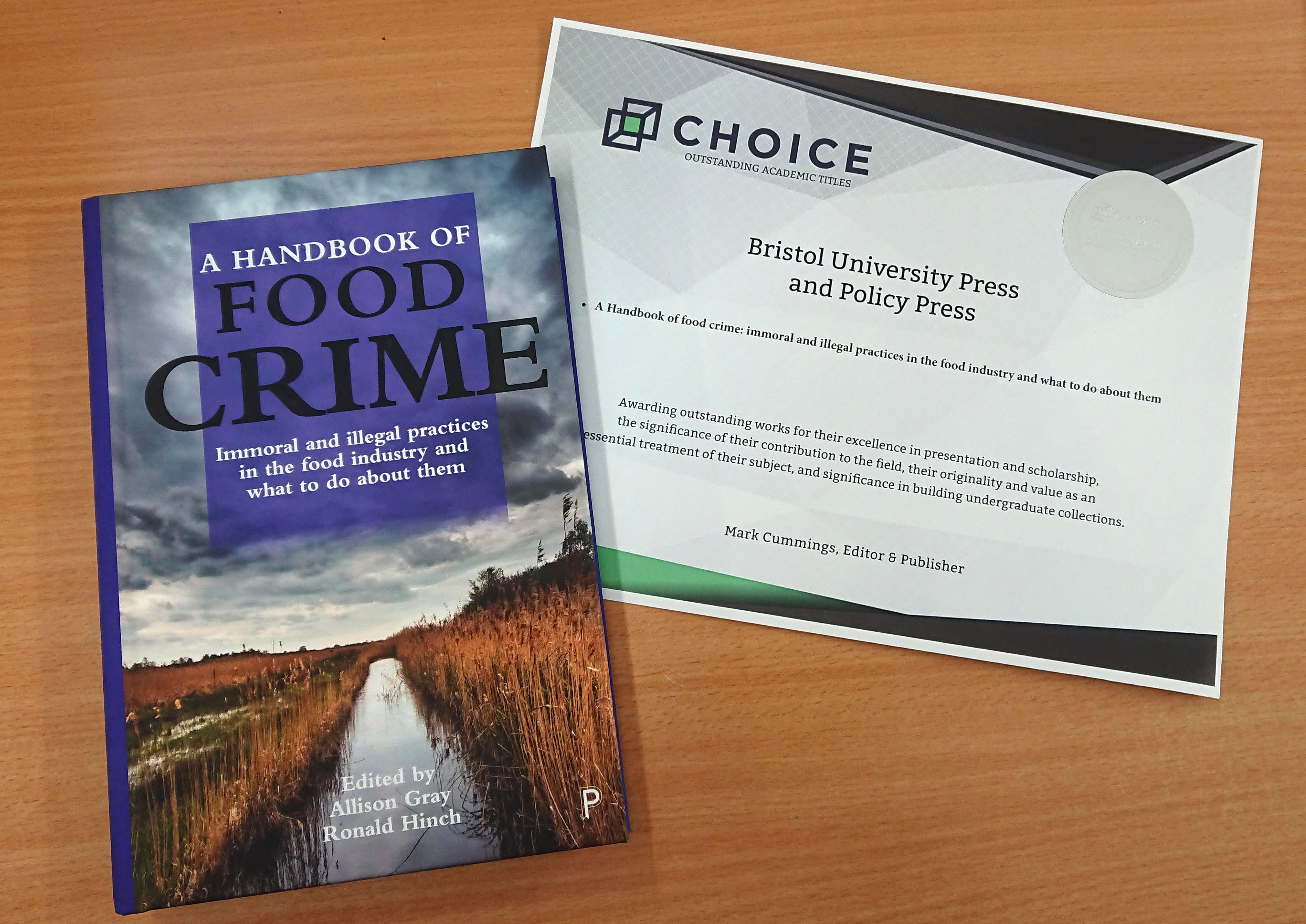 The handbook of food crime wins Choice Outstanding Academic Title award