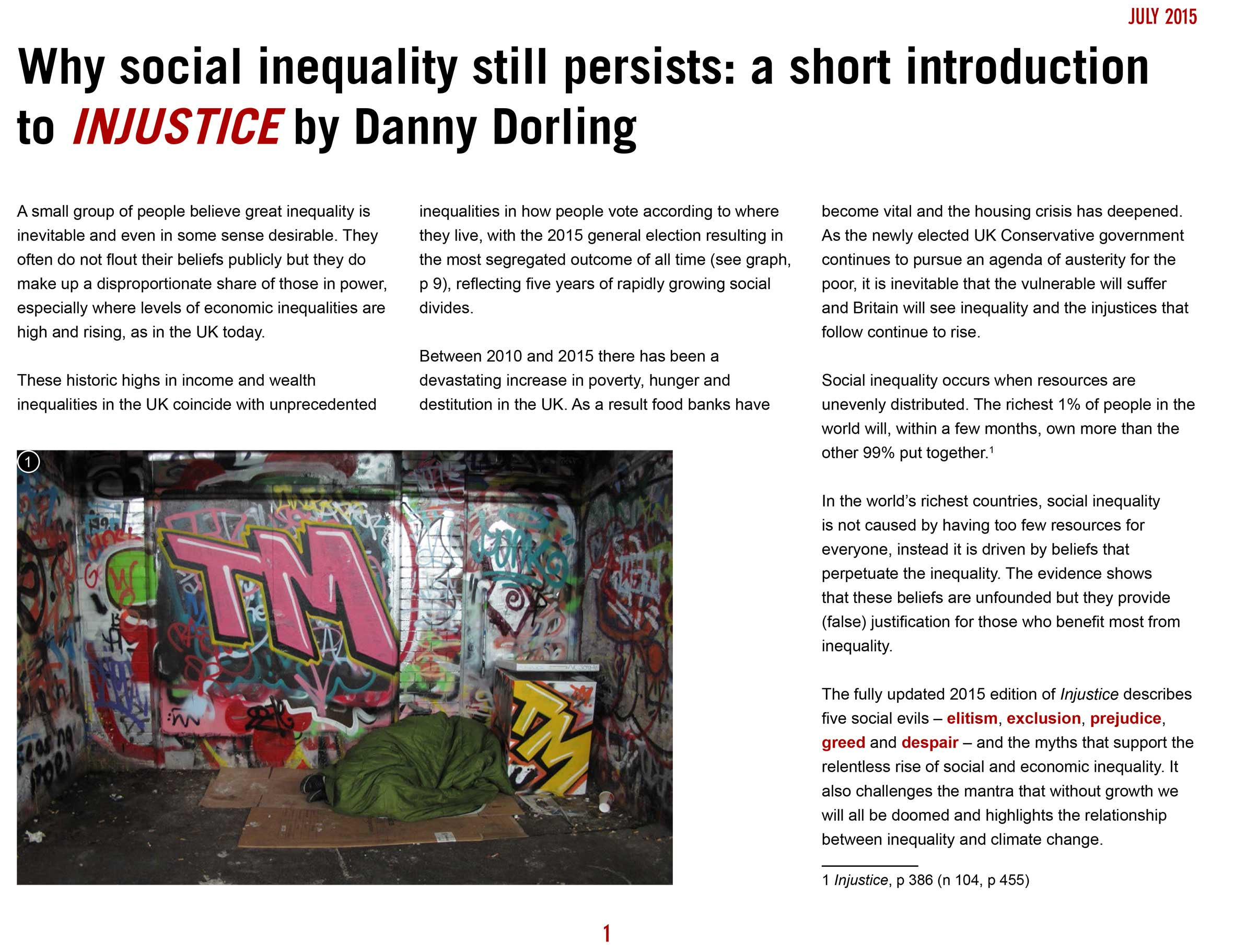 Dorling Why social inequality still persists