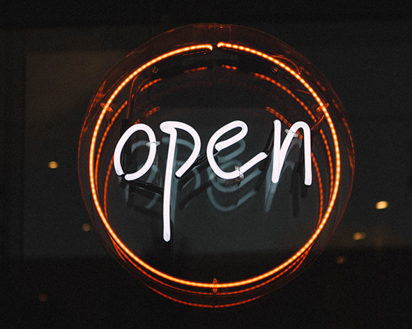 Neon open access sign